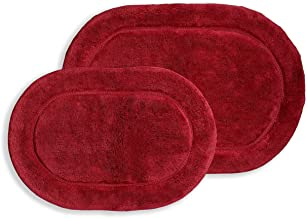 Superior Non-Slip Bath Rug 2-Pack, Ultra Plush, Soft, and Absorbent 100% Combed Cotton Pile - Traditional Oval Bath Mat Se...