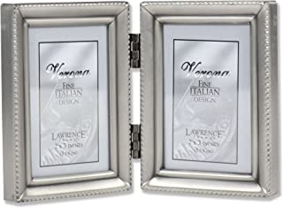 be28108706a Lawrence Frames Antique Pewter Hinged Double 2x3 Picture Frame - Beaded  Edge Design