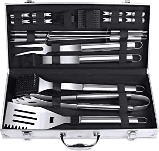 BBQ Grilling Tool Set FYLINA 21pcs Heavy Duty Stainless Steel Grilling Utensils Tools with Aluminum Storage Case for Barbecue Perfect Thanksgiving Christmas New Year Party Gift Gift for Men Women