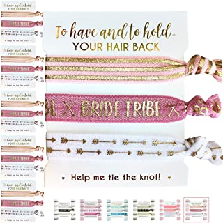 Pack of Hair Ties for Bridesmaids. Bachelorette and Wedding Shower Party Favors. Team Bride or Bride Tribe Gifts. 5x3pc Packs. 15 Hair Ties in Total! (5 x 3pc Pack, Blush & Gold (Tribe))