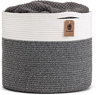 "Goodpick Large Cotton Rope Basket 15.8""x15.8""x13.8""-Baby Laundry Basket Woven Blanket Basket Nursery Bin, Gray"