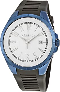 Versace V-Man White Dial Black Rubber Mens Watch P7QB8D001 S009