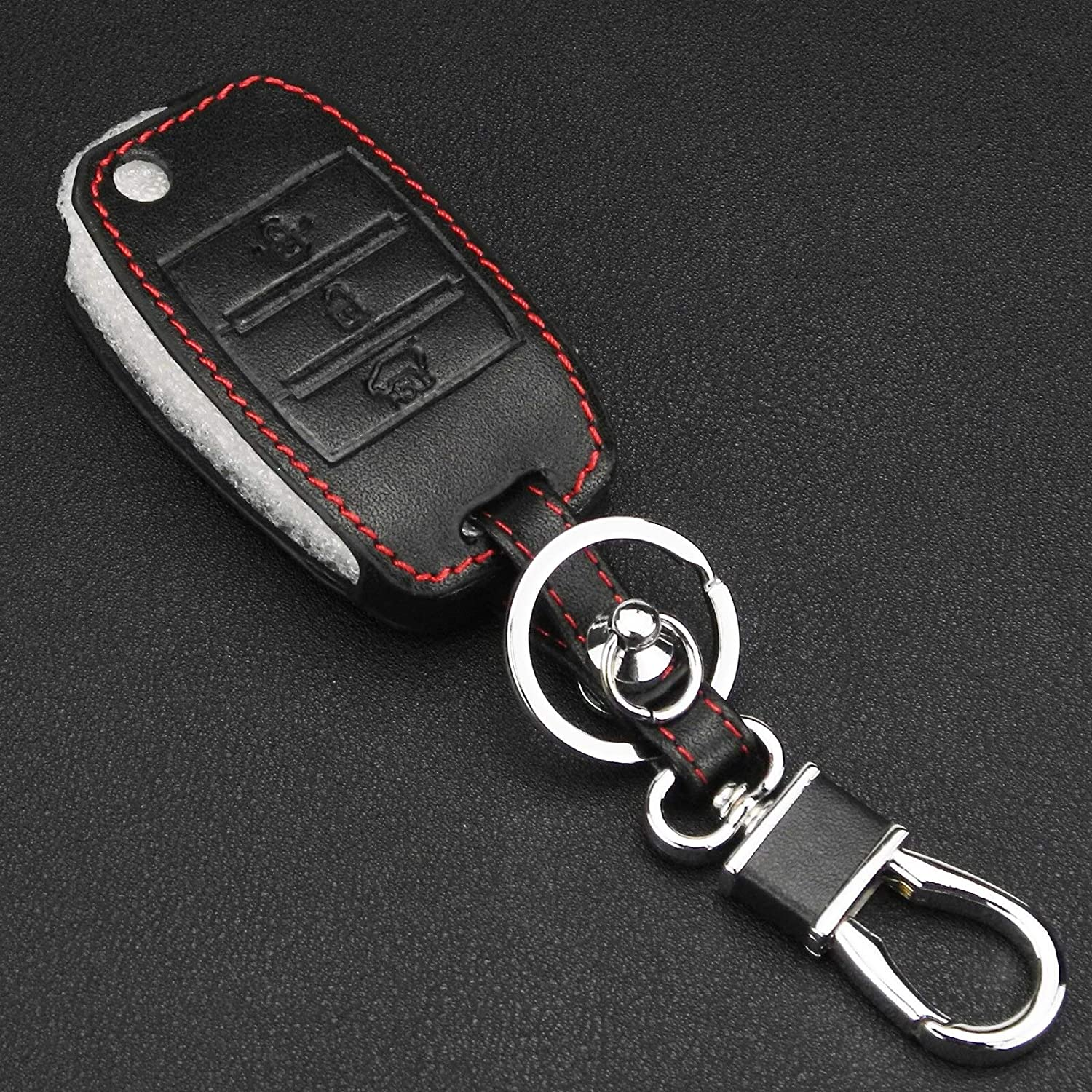 KCFC-53407 Key Opening large release sale Case Cover for Car Boston Mall 10pcs Buttons lot Re 3 Leather