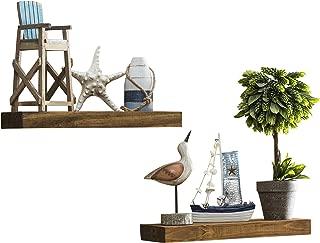 Del Hutson Designs-Rustic Pine Floating Shelves (Walnut, 16 Inch)