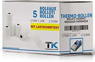57 mm x 36 mm x 12 mm /ÖKO con indirizzo di carico SEPA Rotoli di carta termica per elettrodomestici o stampante portatile 57 36 12 - 20 pezzi carta termica senza fenolo
