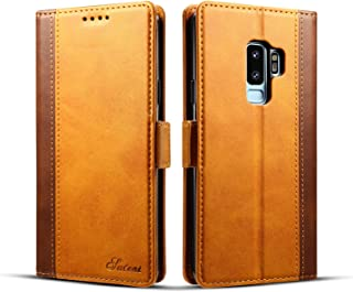 Samsung Galaxy S9 Plus Cover Leather,TACOO Double Color Block Soft Pu Slim Kickstand Protective Credit Card Money Slots Phone Back Case Shell for Galaxy S9 Plus 2018-Khaki