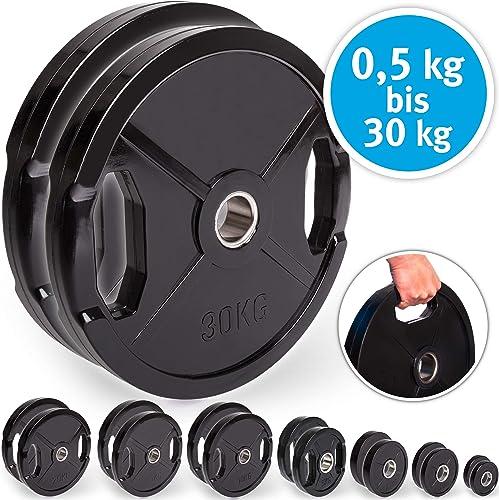 C.P. Sports Olympiascheiben - Par de Discos de Pesas de Goma, 50/51 mm de diámetro, 1 par de Discos de 0,5 kg - 30 kg...