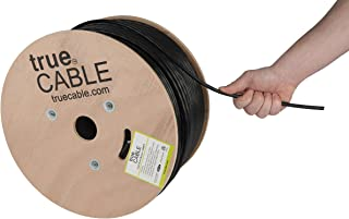 trueCABLE Cat6 Outdoor, 1000ft, Waterproof, Direct Burial Rated CMX, Black, 23AWG Solid Bare Copper, 550MHz, ETL Listed, Unshielded UTP, Bulk Ethernet Cable