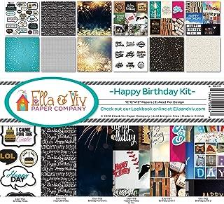 Ella & Viv by Reminisce (ELLLX) EAV-1176 Happy Birthday-Greeting Cards Scrapbook Collection Kit, Multi Color Palette