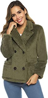 Aibrou Women's Casual Faux Fur Winter Coats with Pockets Warm Button Warm Jackets