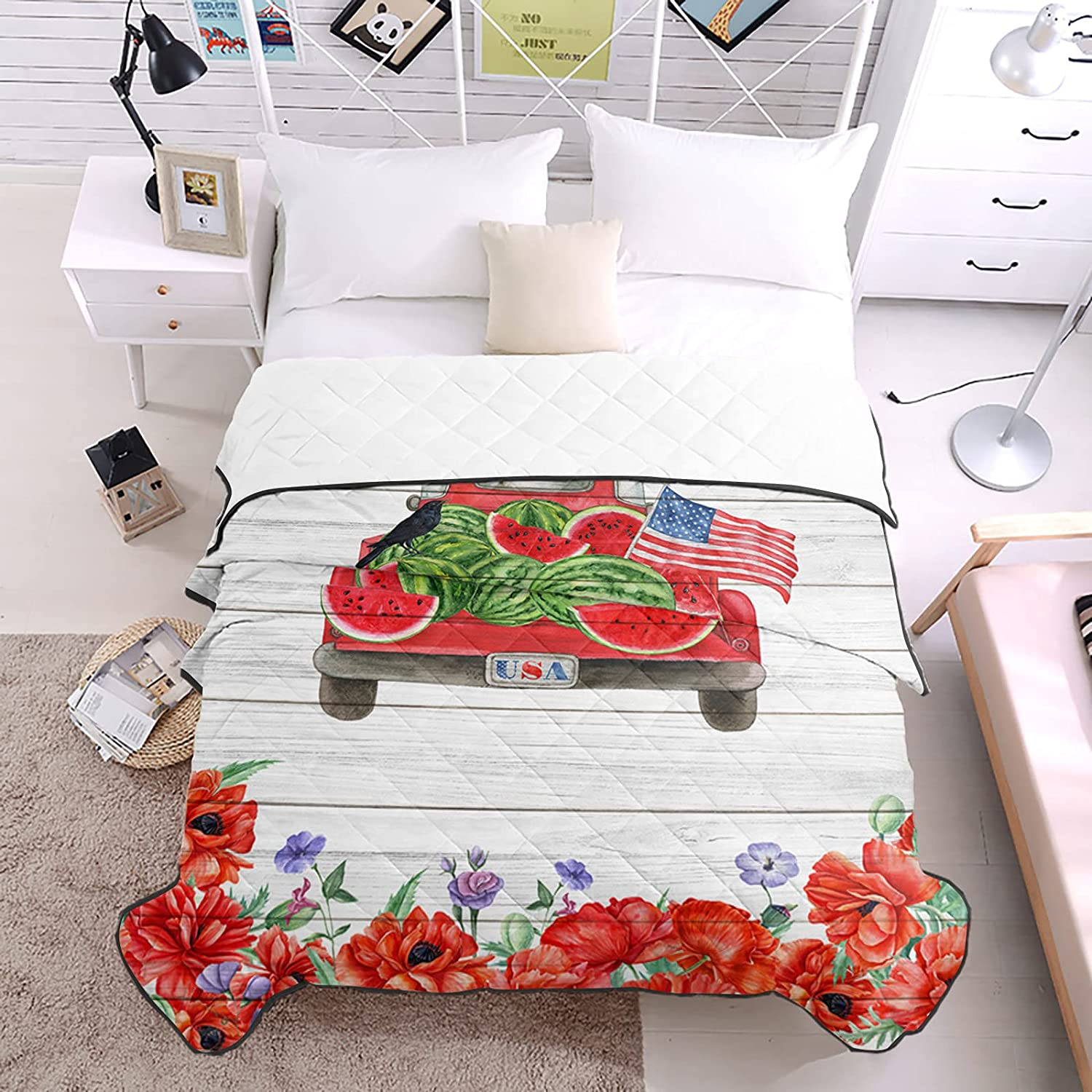 DecorLovee Bedding Duvets Red Flower Shipping included Waterm Pickup Truck Summer Don't miss the campaign