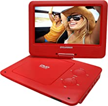 Sylvania 9-Inch Swivel Screen Portable DVD/CD/MP3 Player with 5 Hour Built-In Rechargeable Battery, USB/SD Card Reader, AC/DC Adapter, Red