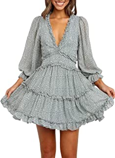 Women Long Sleeve Ruffle Layer Backless Swing Mini Dresses