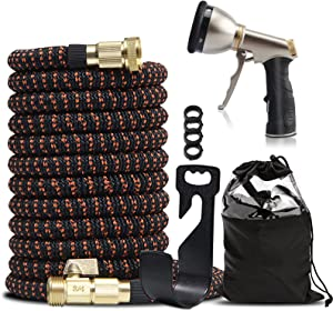 EGDNL Expandable Garden Hose 25 ft -with 9 Adjustable Heavy Duty Metal Hose Nozzle and Holder-3/4
