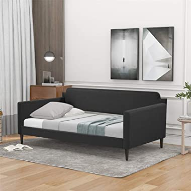 Twin Size Daybed, Upholstered Daybed with Rivet Decoration, Wood Daybed Frame for Kids, Teens and Adults, Gray