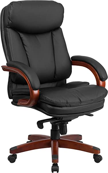 Flash Furniture High Back Black Leather Executive Ergonomic Office Chair With Synchro Tilt Mechanism Mahogany Wood Base And Arms