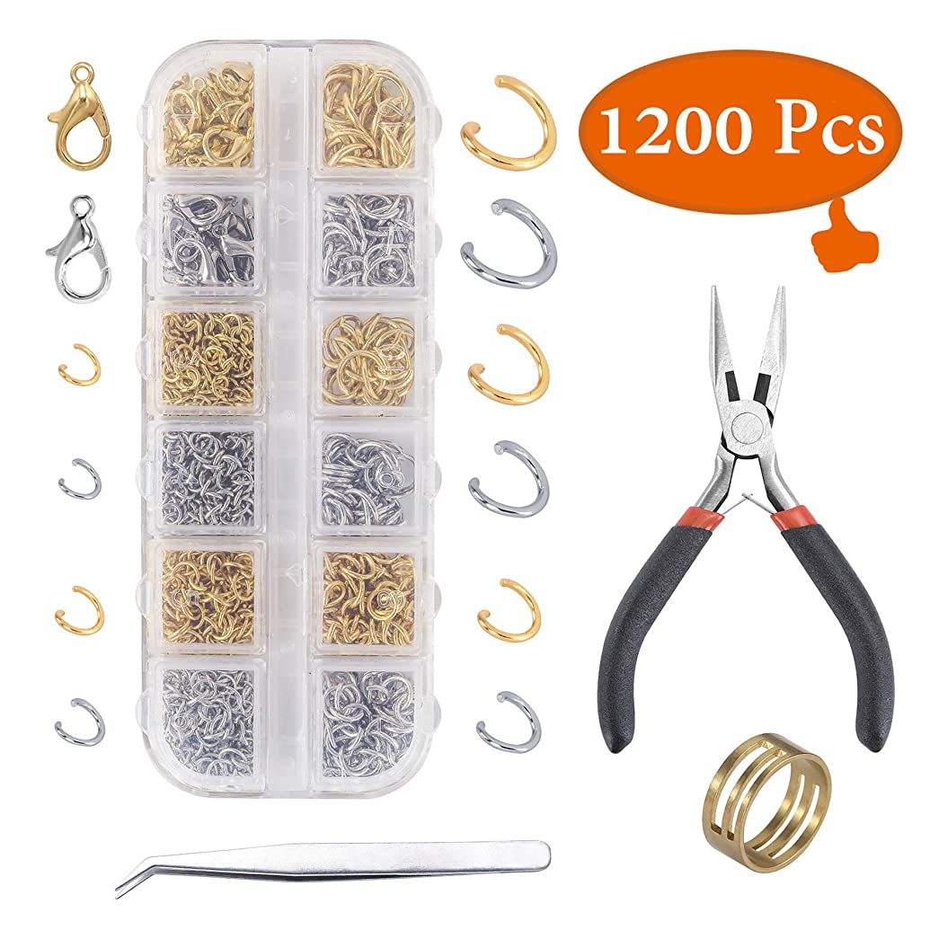 YUGDRUZY 1200Pcs Jump Rings and Lobster Clasps Jewelry Making Kit with Pliers Jewelry Making Supplies Kit Jewelry Making Supplies Findings for Jewelry Repair for Adults (Silver, Gold)