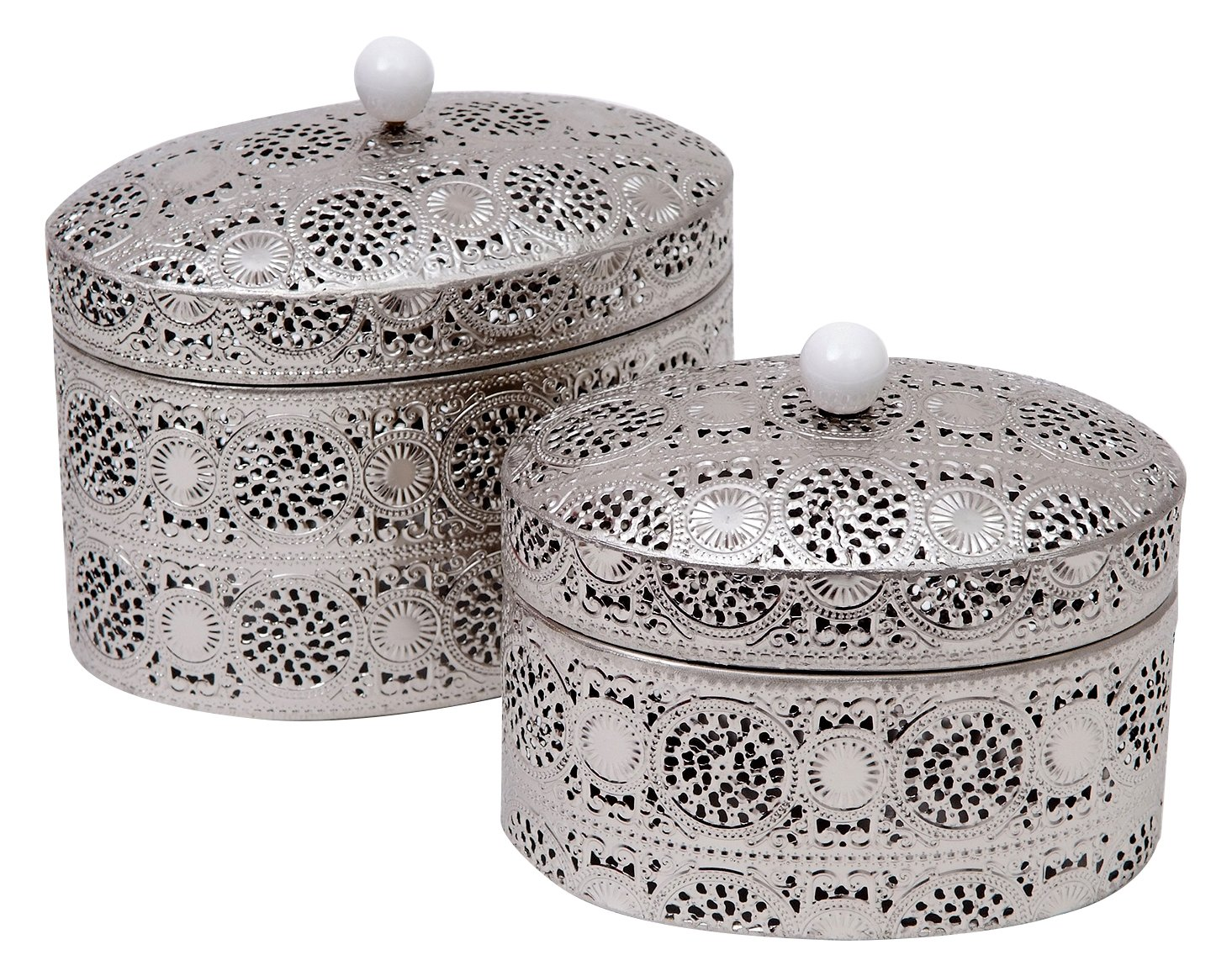 Burkina Home Decor 9016140 Set de Cajas Decorativas, Metal, Plata, 22x15x20 cm: Amazon.es: Hogar