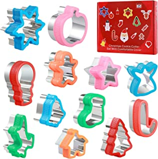 12pcs Christmas Cookie Cutters & Sandwich & Fruit & Vegetable Mold Set, Food Grade Stainless Steel Cookie Cutters for Kids Baking, Bento Box and Food Decoration Tools for Kitchen