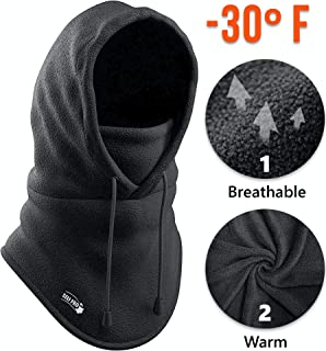 Balaclava Fleece Hood - Windproof Face Ski Mask - Ultimate Thermal Retention Moisture Wicking with Performance Soft Fleece Construction Black