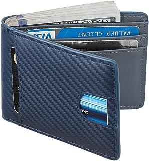 Casmonal Mens Leather Wallet Slim Front Pocket Wallet Billfold RFID Blocking