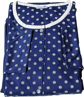 Eco Ragno Pigiama Donna Giacca Aperta Girocollo Pantalone Lungo Microfantasia Blu' in Jersey di Puro Cotone Mis dalla 44 a...