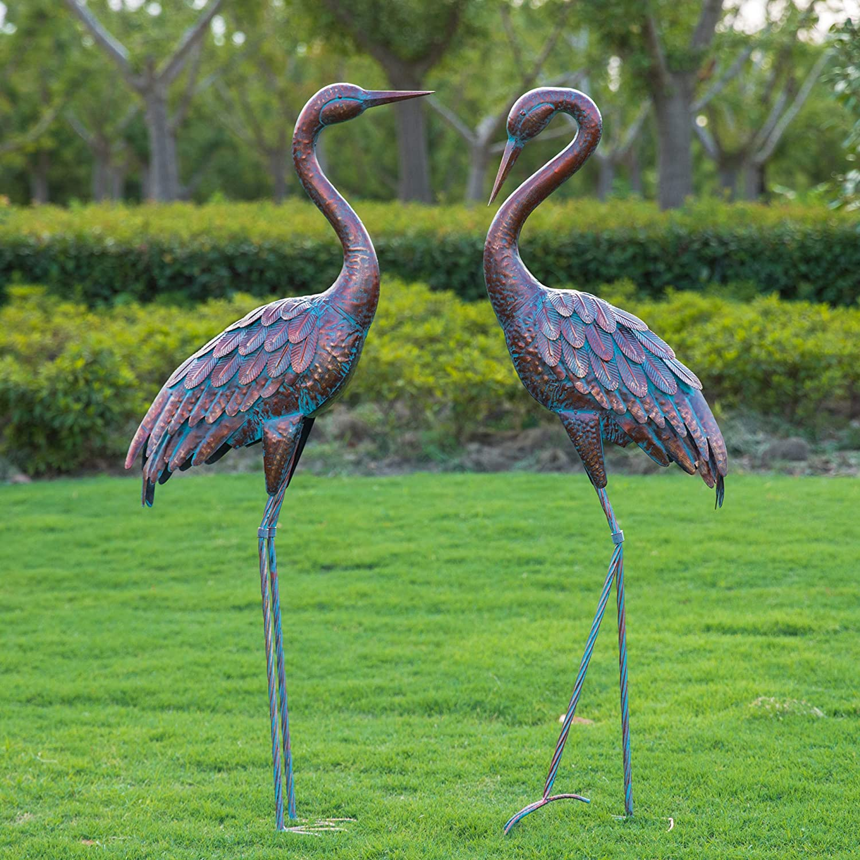 Kircust Garden Crane Statues Patina Heron Decoy, Standing Metal Crane Sculptures Bird Yard Art for Outdoor Decor, Set of 2