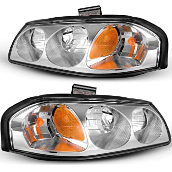 AUTOSAVER88 Headlight Assembly Compatible with 2000-2005 Chevy Impala OE Style Replacement Headlamps Chrome Housing Amber Reflector Clear Lens