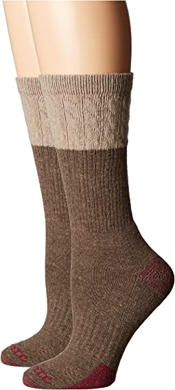 Merino Wool Blend Textured Crew Socks 2-Pair Pack