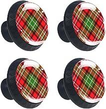 4 stks Kabinet Knoppen Lade Dressoir Handvatten Schuine Rood Groen Schotse Controles voor Kamer, Keuken, Kantoor en Badkamer