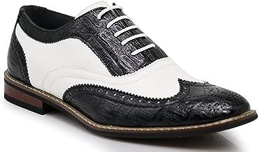 Men's Dress Oxfords Shoes Italy Modern Designer Wingtip Captoe 2 Tone Lace Up Shoes