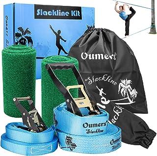 Oumers Beginner Slackline Kit, Complete Slack Line Gift Set with 50ft Main Blance line Training Line Tree Protector Ratchet Cover Carry Bag for Kids Adults, Easy Setup Slacklines Balance Strap
