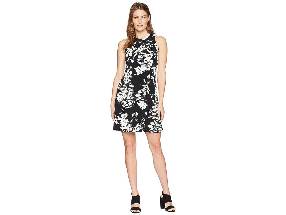 Karen Kane Print Halter Dress (Black/Off-White) Women
