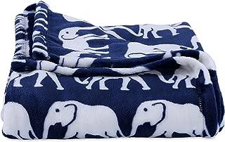 Berkshire Blanket VelvetLoft Plush Blanket Throw (50'' x 60'', Navy Elephant)