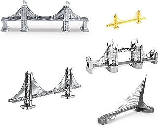 Set of 5 Metal Earth 3D Laser Cut Bridge Models: Brooklyn Bridge, Sundial Bridge, Gold Rare Earth Golden Gate Bridge, Silver Golden Gate Bridge, & London Tower Bridge