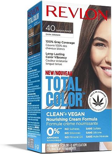 Revlon Total Color Coloration Permanente des Cheveux, Clean et Vegan, couvre 100% des cheveux blancs, 40 Châtain Fonc...