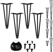 Relaxdays Hairpin Legs, set van 4, 3 baleinen, metaal, haarspeld tafelpoot voor kruk, tafel en kast, 30 cm hoog, zwart