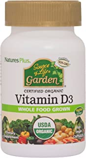NaturesPlus Source of Life Garden Certified Organic Vitamin D3 - Cholecalciferol 5000 iu, 60 Vegan Capsules - Whole Food P...