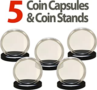 5 Coin Capsule & 5 Coin Stands for PENNIES Direct Fit Airtight 19mm Coin Holders