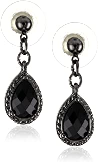 Black Victorian Inspired Petite Teardrop Earrings