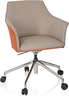 hjh OFFICE 600999 Silla ejecutiva Arezzo Tela/Piel sintética Beige/Naranja Elegante Silla de Escritorio