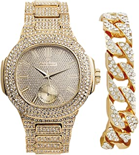 Bling-ed Out Cuban Bracelet with Gold Oblong Iced Out Hip Hop Watch - 8475B Cuban Gold