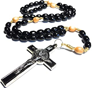 Made in Italy Rosary Blessed by Pope Francis Vatican Rome Holy Father Medal Cross Saint Benedict Patron Saint of Students, Christian Values Veterans US Army solders Addiction Dependence Death (Black)