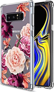 Galaxy Note 8 Case for Women Clear with Cute Flowers Design Shockproof Protective Case for Samsung Galaxy Note 8 Floral Cell Phone Back Cover Girls Flexible Slim Fit Rubber Cases