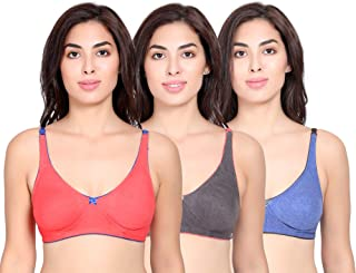 Ma'isah Full Coverage Seamless Bra for Women's Combo (Pack of 3)