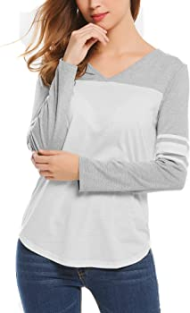Miageek Women V Neck Raglan Long Sleeve Baseball Shirts Blouse Tops