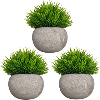 Mini Artificial Plants 3 Pack Fake Plants Potted Faux Green Grass Topiary Shrubs with..