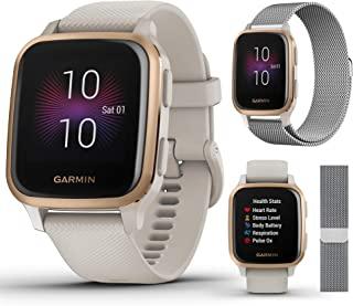 Garmin Venu Sq Music (Light Sand/Rose Gold) Extra Style Band Bundle   with Milanese Metal Watch Band (Silver) by PlayBette...