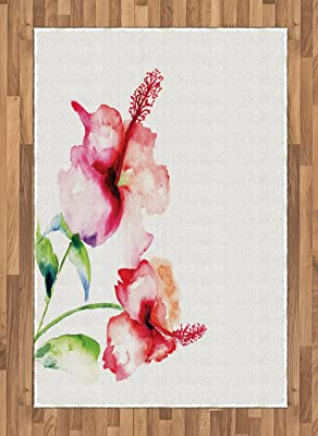 Floral Print Indoor//Outdoor Rug Red//Pink 2 x 3 E by design RFN494PK3-23 Asian Rose