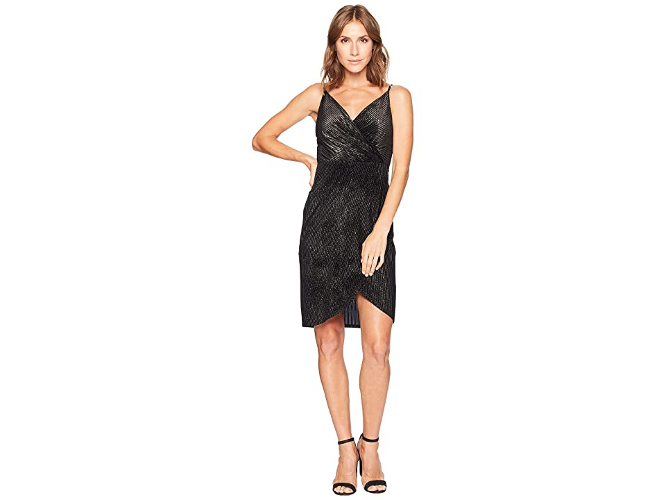 CeCe Audrey Sleeveless Lurex Velvet Wrap Dress (Rich Black) Women